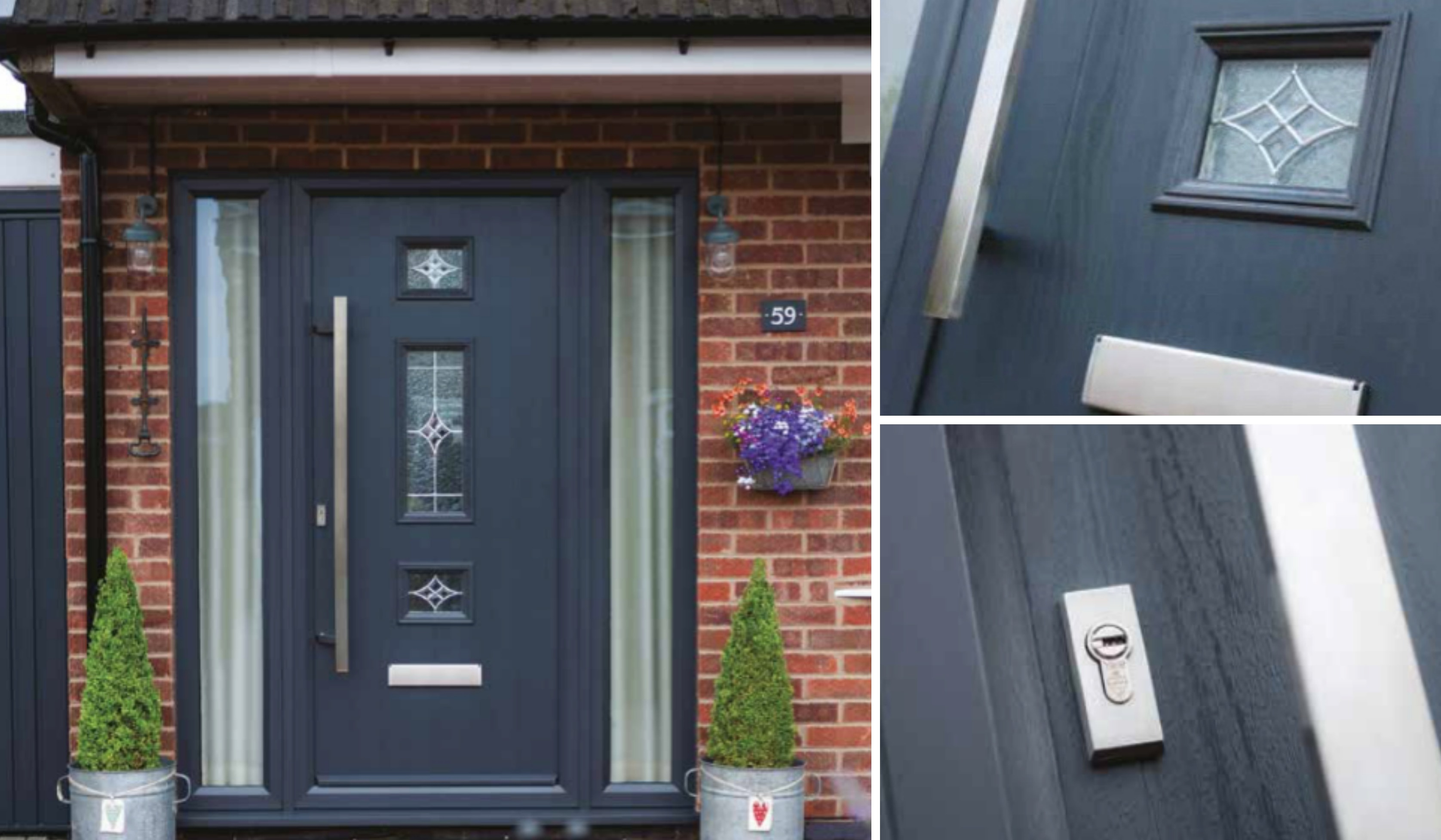 (Door pictured is Mid 3 Square in Grey with Long Square Handle and Zinc Art elegance glass) & Mid 3 Square Composite Doors | Decra Doors Doncaster pezcame.com